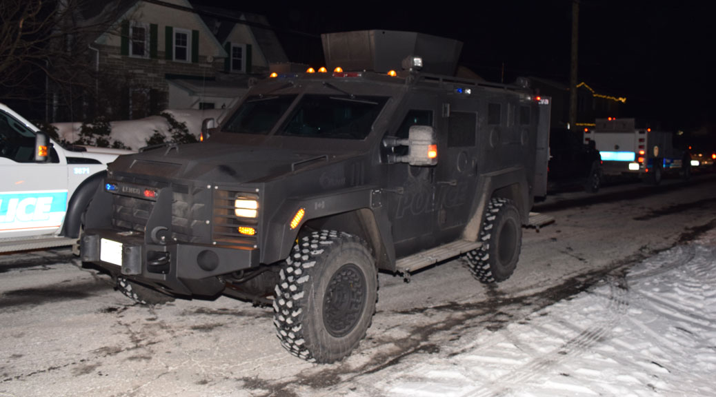 Ottawa Police had an armoured vehicle on the scene. Photo by Devyn Barrie.