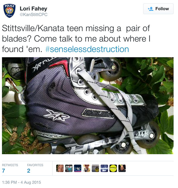 Tweet shared by Constable Lori Fahey, showing a rollerblade that may be linked to some of the vandalism at 173 Huntmar.