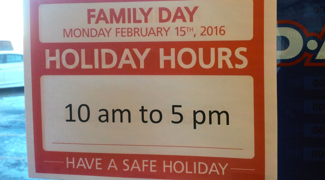 Family Day opening hours