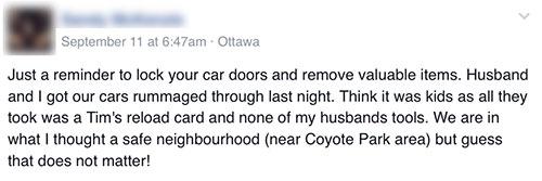 Vandalism report on Facebook