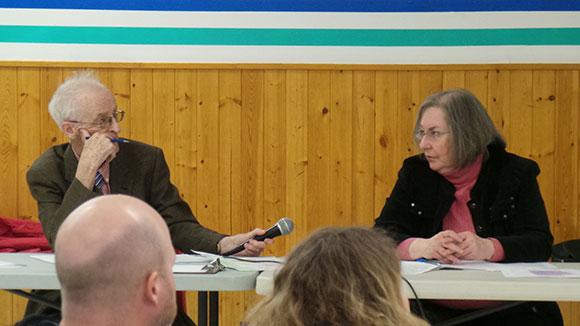 Catholic trustee John Curry and public trustee Lynn Scott.