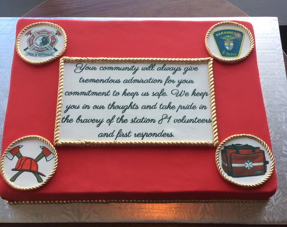 "An anonymous donor commissioned this cake for the volunteer firefighters at Station 81: """"Your community will always give tremendous admiration for your commitment to keep us safe. We keep you in our thoughts and take pride in the bravery of the station 81 volunteers and first responders."""