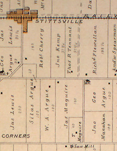 Detail from the 1879 Belden Atlas. The Flewellyns were neighbours with the Spearmans, Tennants, and Argues across the street. The black dot on the Flewellyn property indicates a house, perhaps the precursor to the stone house. The icon on the Argue property refers to a schoolhouse. The dotted double line between Flewellyn and Tennant land is an un-opened road allowance that would later become what we know as Shea Road.