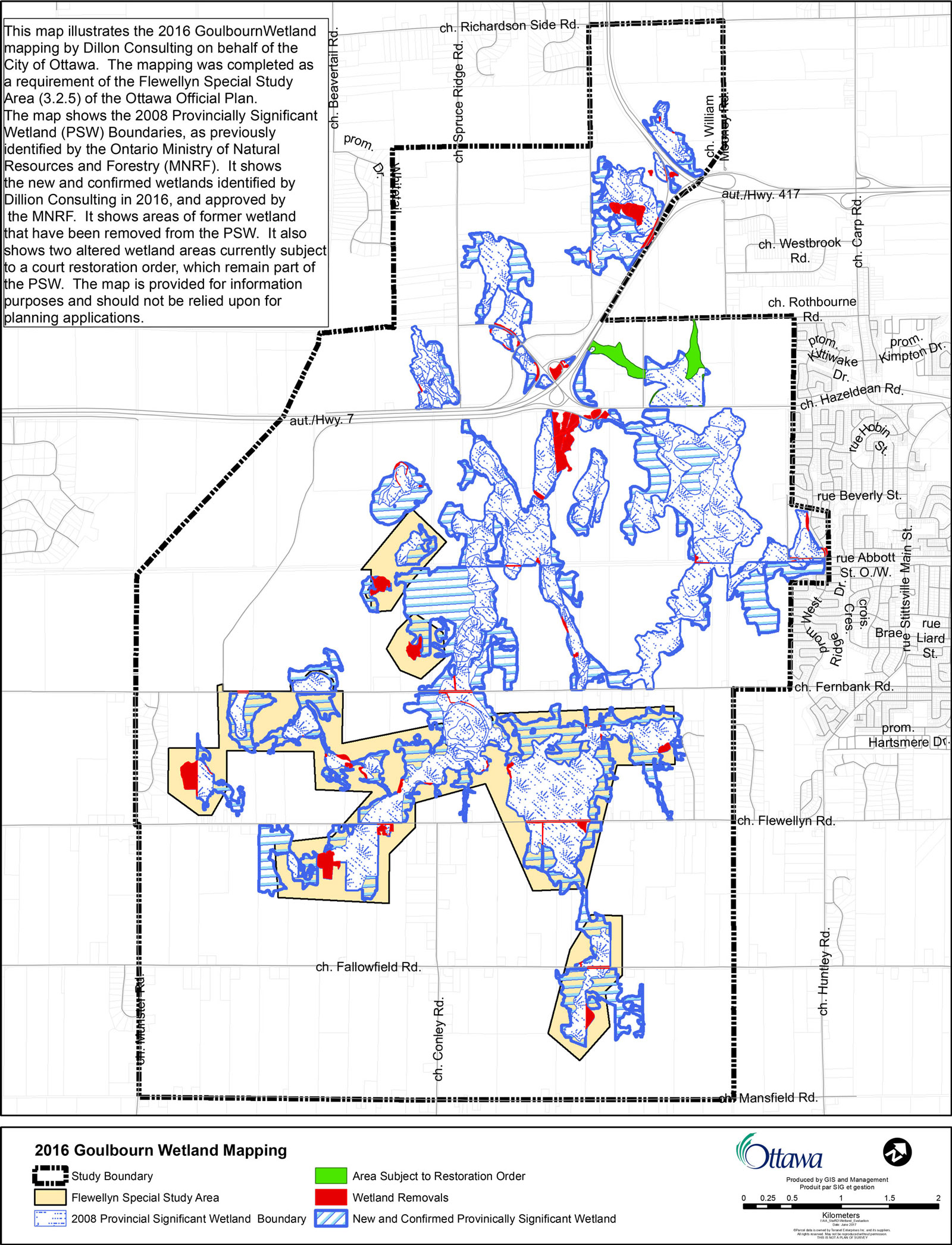 This map illustrates the 2016 Goulbourn Wetland mapping by Dillon Consulting on behalf of the City of Ottawa. The mapping was completed as a requirement of the Flewellyn Special Study Area (3.2.5) of the Ottawa Official Plan. The map shows the 2008 Provincially Significant Wetland (PSW) Boundaries, as previously identified by the Ontario Ministry of Natural Resources and Forestry (MNRF). It shows the new and confirmed wetlands identified by Dillion Consulting in 2016, and approved by the MNRF. It shows areas of former wetland that have been removed from the PSW. It also shows two altered wetland areas currently subject to a court restoration order, which remain part o the PSW. The map is provided for information purposes and should not be relied upon for planning applications. The full size map is available here: http://ottawa.ca/en/city-hall/public-consultations/environment/flewellyn-special-study-area-and-goulbourn-wetland
