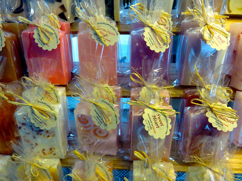 French Country Soaps display
