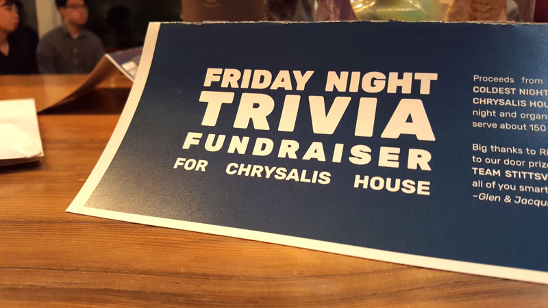 Friday night trivia placecard