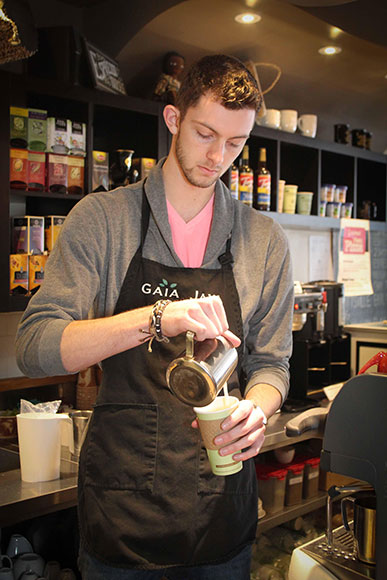 Cole Wilson, a barista at Gaia Java. Photo by Barry Gray