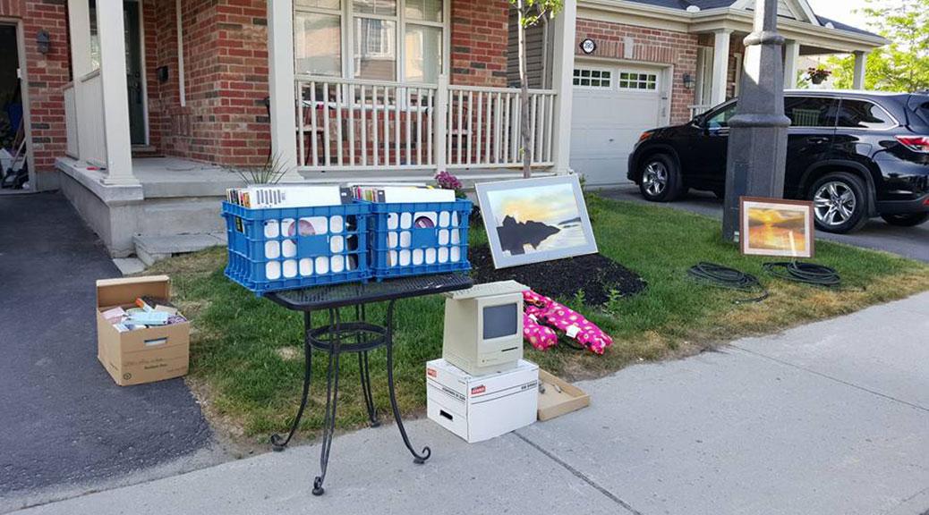 A front lawn garage sale