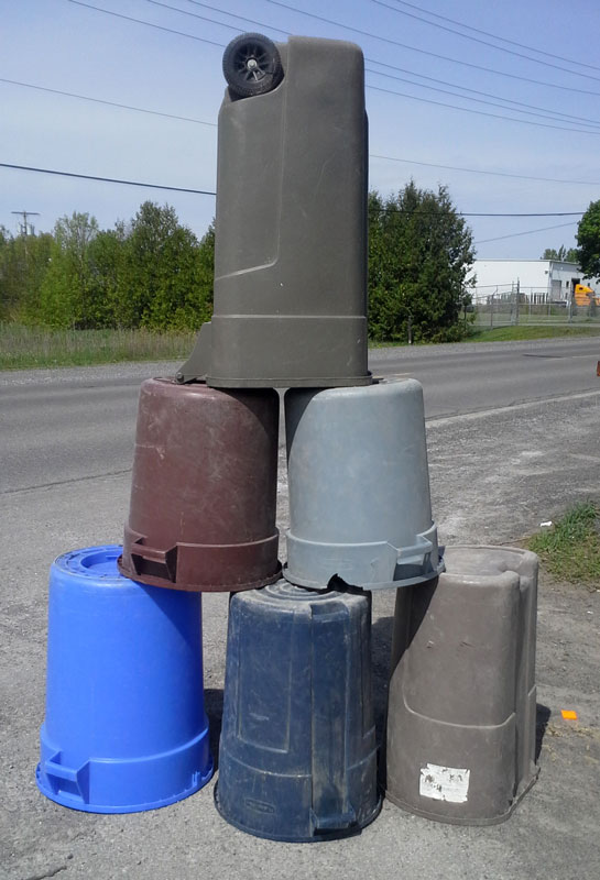 Creative garbage bin stacking. Photo by Doug Lyon