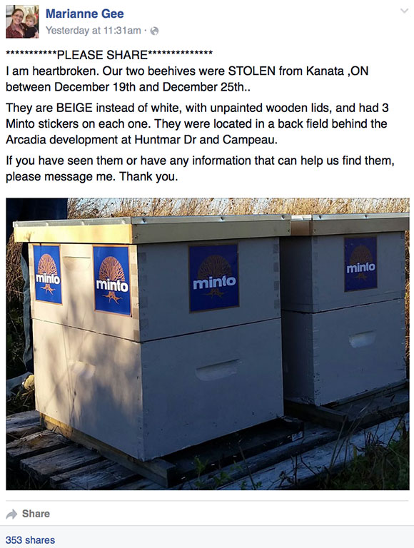 Photo from Facebook of the stolen bee hives