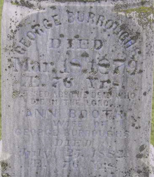 George Burroughs died in 1879 and is buried in the United cemetery in Carp.