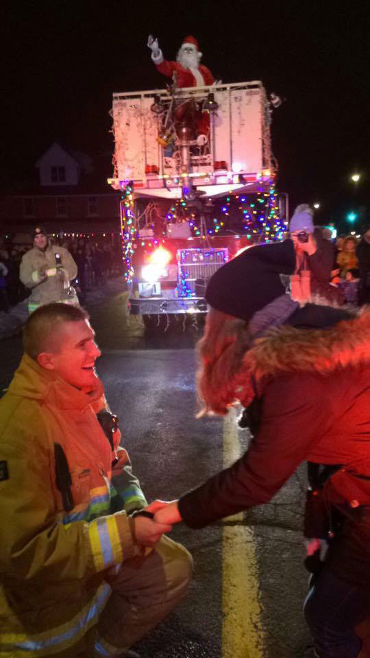 She said yes! Josh Gibeault and Megan Faulkner got engaged at the Parade of Lights on November 26, 2016.