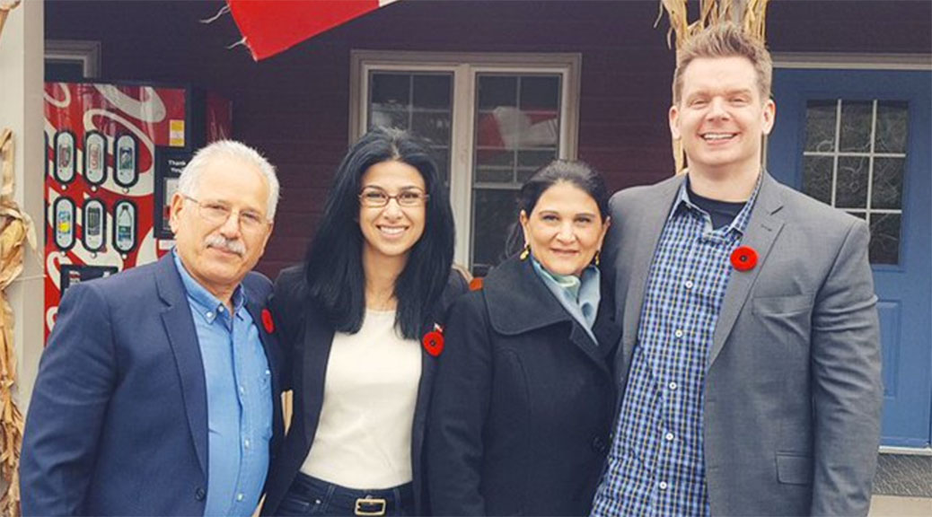 Goldie Ghamari with her parents and husband after winning the nomination to be the PC candidate for Carleton. Photo via Twitter.