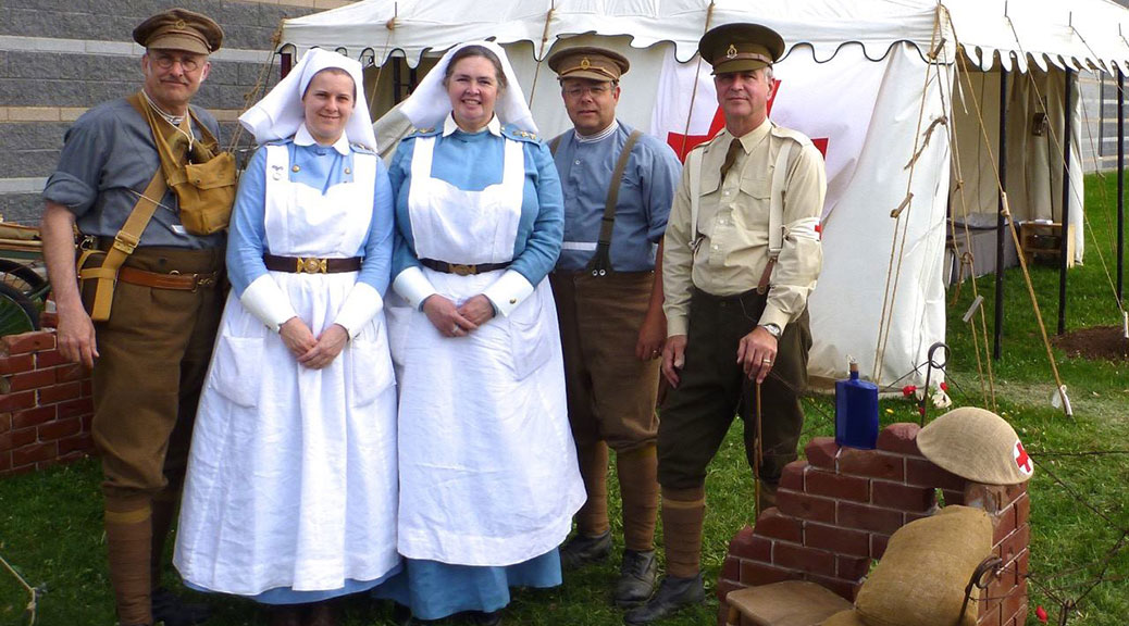 "This Sunday, members of the WWI Canadian Army Medical Corps (recreated) from St. Thomas, Ontario will be transforming the Goulbourn Museum grounds into a Forward Aid Post and Casualty Clearing Centre or field hospital. The museum will also launch their new exhibit ""Healing Hands - Medicine During the World Wars."""