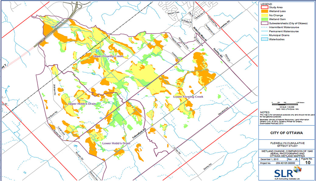 This map shows how wetland area has changed since 1946. Green = more wetland, Orange = lost wetland, Yellow = no change.