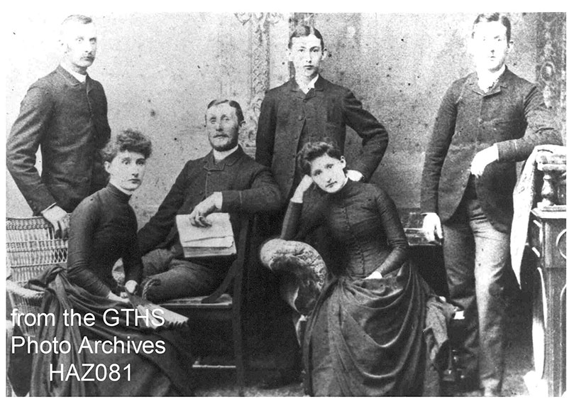 Family of Robert and Eliza Grant, standing left to right John, James, and William. Seated Bessie (Mrs John Gourlay), Robert and Mary (Mrs William Templeton) from the GTHS Photo Archives HAZ081