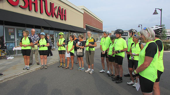 the Grassroot Grannies, a group of 23 retired women, left Bushtakah on Hazeldean Road on a three-day fundraising bike tour.
