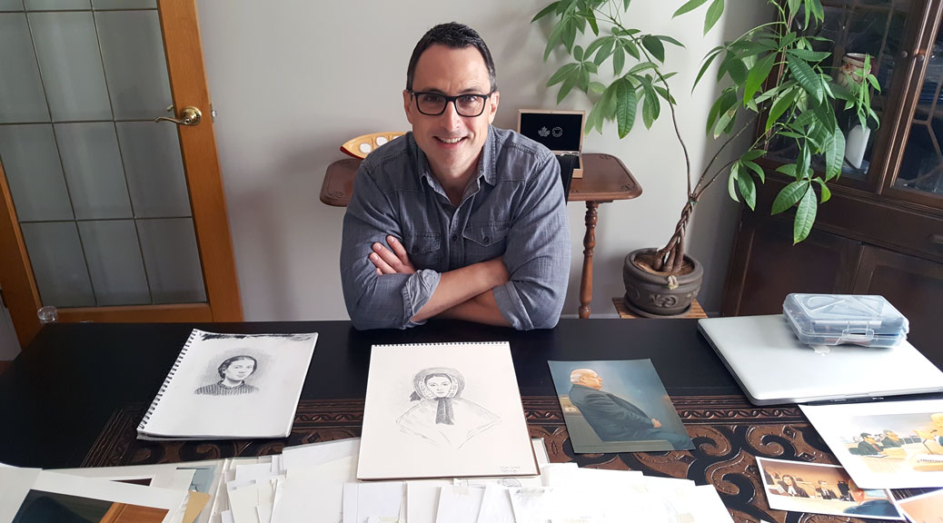 Greg Banning with some of his sketches, in the dining room at his home in Stittsville. Photo by G. Gower.