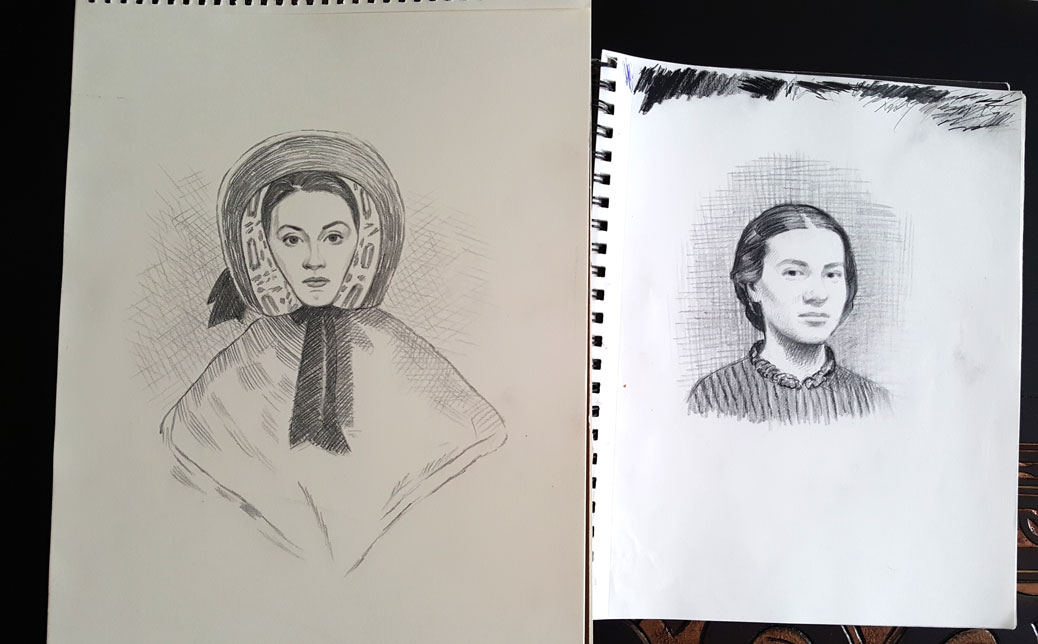 Some of Greg Banning's courtroom sketches for the Alias Grace miniseries.