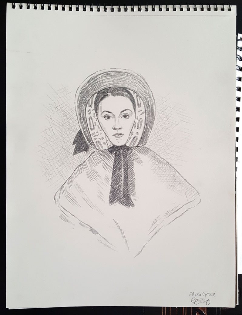 Greg Banning's sketch of actress Sarah Gordon created for the Alias Grace miniseries.