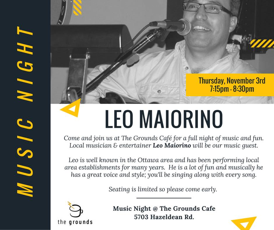 The Grounds is excited to have Leo play for our second music night!