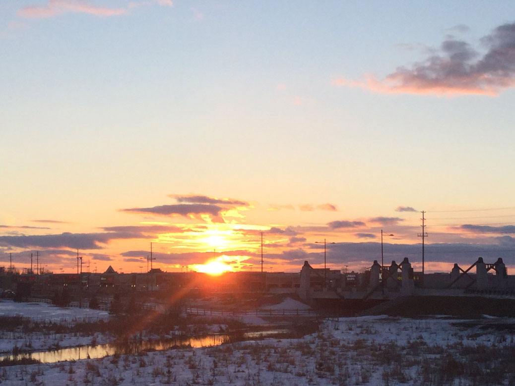 Sunset over Hazeldean Road / Carp River. Photo by Liz Hall. February 2017