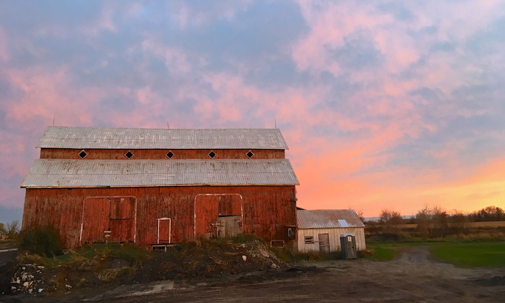 Sunset over the Bradley Craig Farm, October 26. Photo by Mandy Hambly.