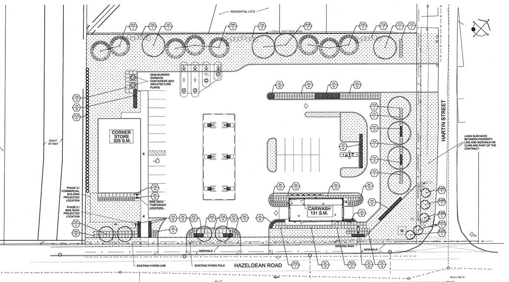 Site plan for gas station and commercial development at Hazeldean and Hartin