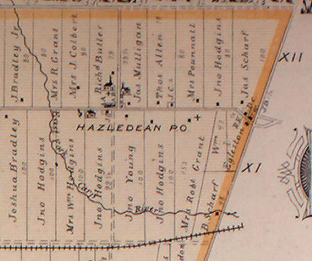 Detail from the map of Goulbourn Township from the Belden Atlas, 1879. The thick horizontal line in the middle of the map is Hazeldean Road, and the churches are clustered along what's now Young Road in Kanata. The small squares represent homes in the area. The rail line at the bottom is now the Trans Canada Trail.