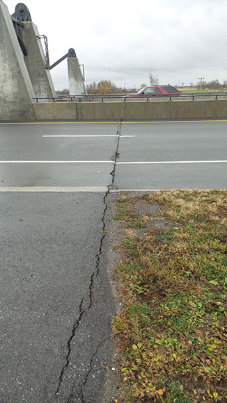 Crack across the Hazeldean Road bridge.