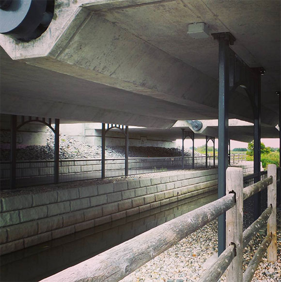 One of the recommendations of the Delcan Report was to add additional supports to the underside of the bridge decks.