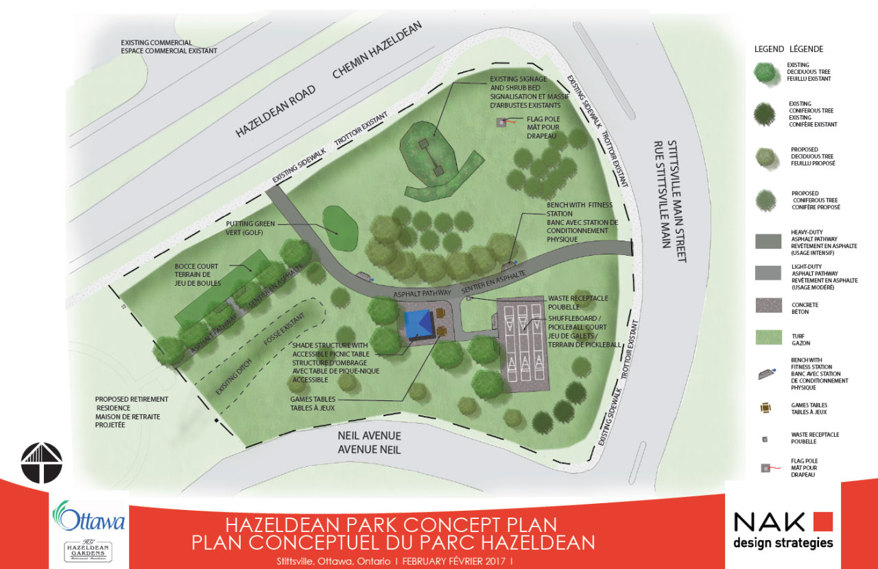 Here's the plan for an age-friendly park on Hazeldean Road, adjacent to the new Hazeldean Gardens retirement complex.