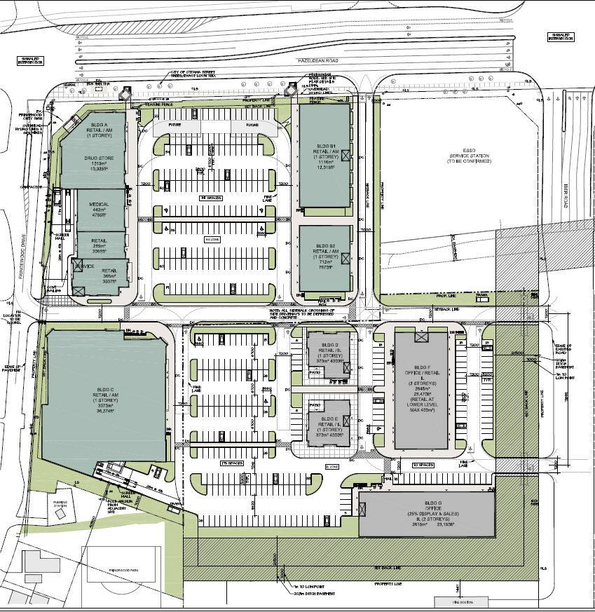 Site plan for 5734 and 5754 Hazeldean Road and 2 Iber Road.