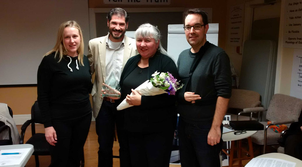 Hélène Rivest with the SVA award committee, Jennifer de Sa, Murilo Torres and Glen Gower. Photo courtesy of Councillor Shad Qadri's office.