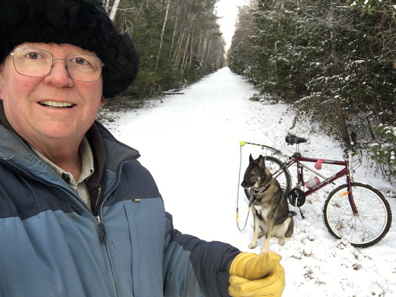 Bob Herres, taken earlier this week along the Trans Canada Trail. That's his good friend Disel, a part Husky, in the background.