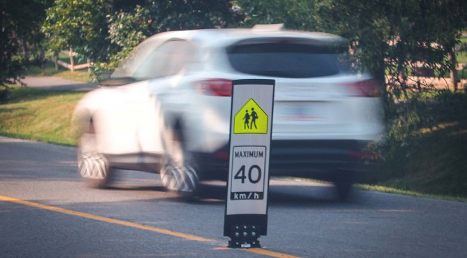 Speed sign on Hobin Street, near A. Lorne Cassidy school. Photo by Barry Gray.