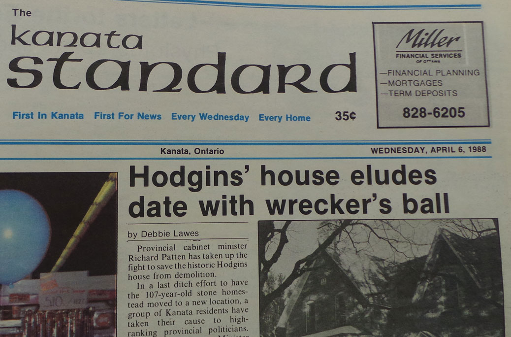 Hodgins' house eludes data with wrecker's ball. Kanata Standard, April 6, 1988.