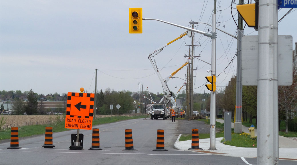 Hydro pole relocation on Maple Grove on May 14.