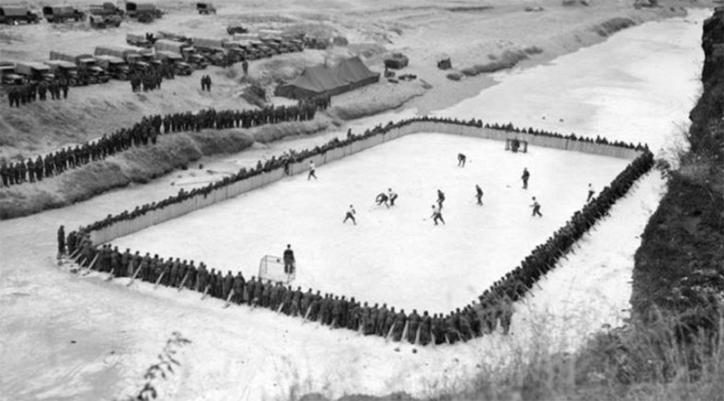 During the Korean War, Canadian soldiers played hockey on the frozen Imjin River whenever they were given time away from their front-line duties.