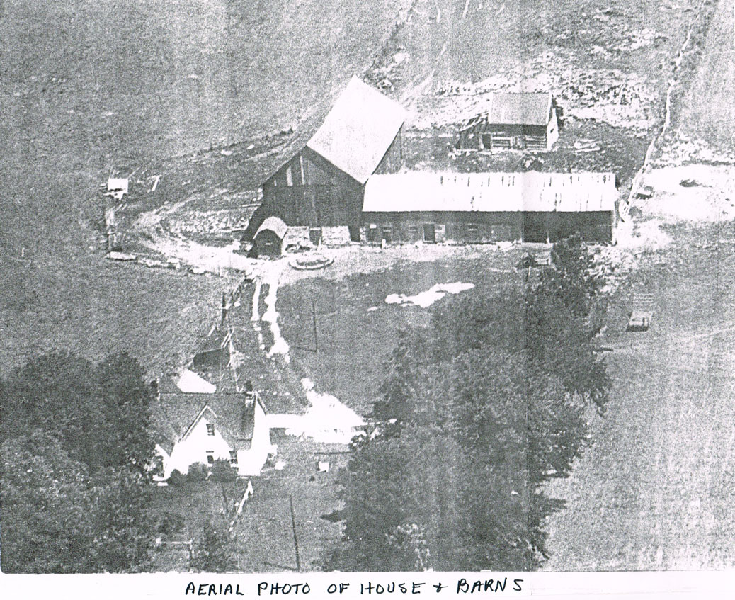 Aerial of the farmhouse and barns that once stood on the property, date unknown.