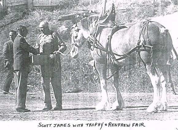 Scott James with his clydesdale at the Renfrew Fair. Date unknown.
