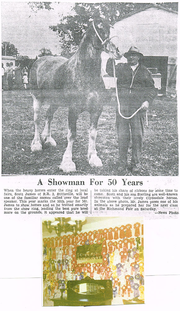 """Newspaper clipping and photograph, date unknown.  Neighbour Melodie McCullogh remembers: """"Their kitchen walls were covered in blue and red ribbons they had won. My sister and I used to ride an old bike down the long dirt driveway from our grandmother's (173 Huntmar)  to their house to get eggs."""""""