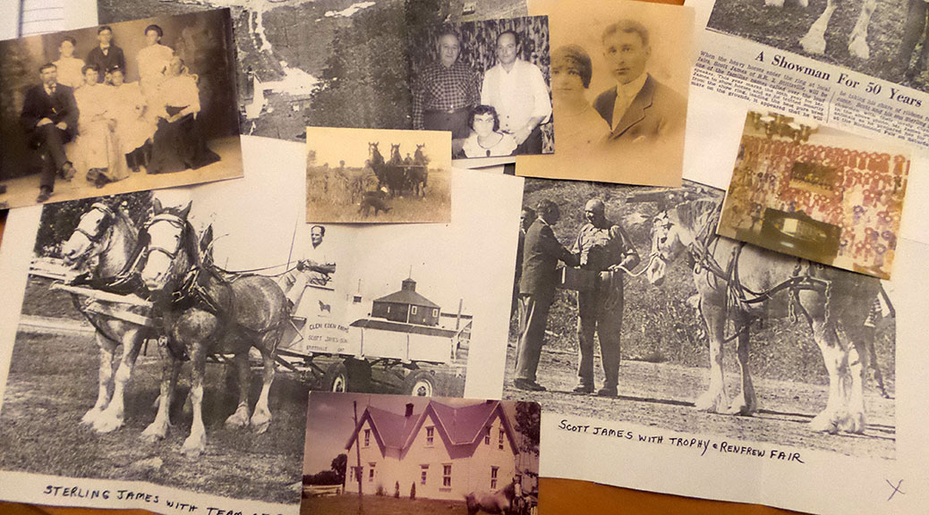 Collage of James family photos and documents.
