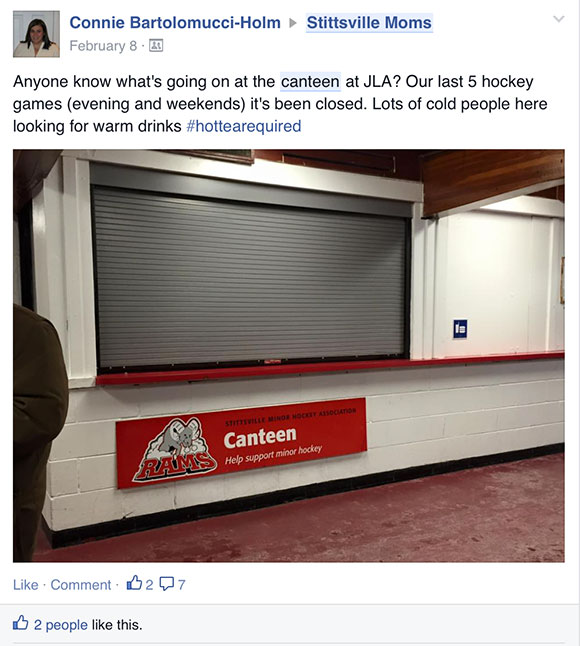 A parent asks on Facebook about why the canteen at Johnny Leroux arena is closed, on February 8.