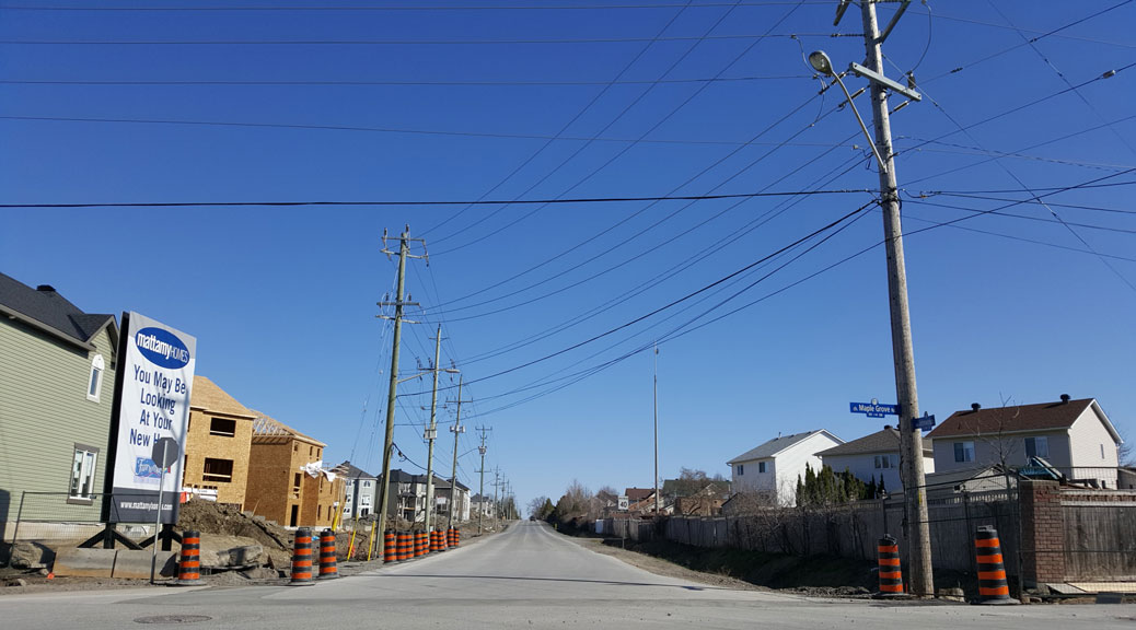 Looking south down Johnwoods from Maple Grove Road. The City is proposing to close the street from Maple Grove to Rosehill, and covert it to a recreational path.