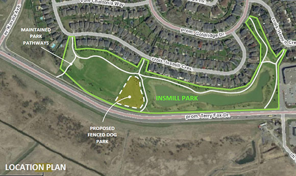 Location of the proposed dog park near Terry Fox Drive in Kanata North.