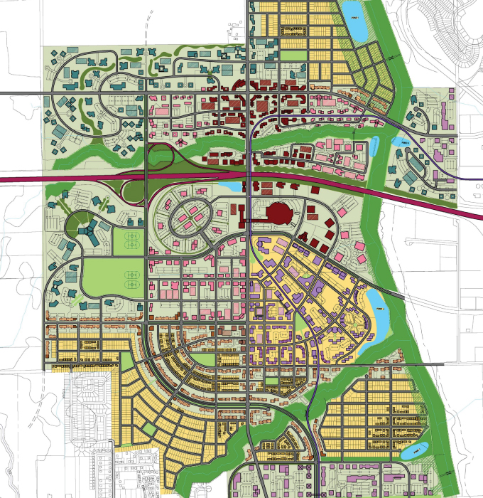 The Kanata West Concept Plan covers a large section of west Kanata and Stittsville, with Canadian Tire Centre in the middle.