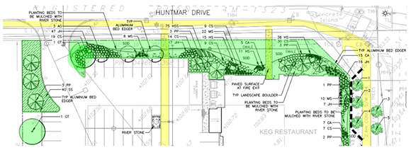 Proposed landscaping along Huntmar