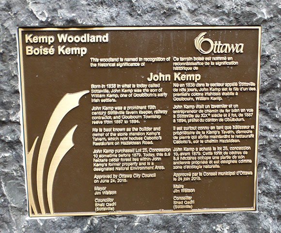 Kemp Woodland plaque