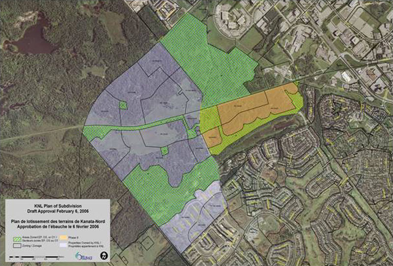 Kanata North Lands plan of subdivision, dated February 2006. KNL's permit applies to Phases 7 & 8, shown in purple.